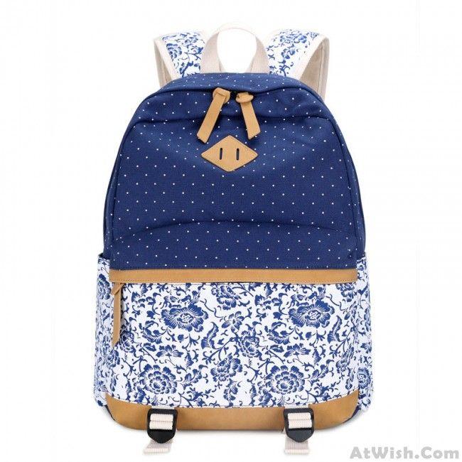 Fresh Floral  Canvas Travel Backpack Polka Dot Leisure Backpack&Schoolbag