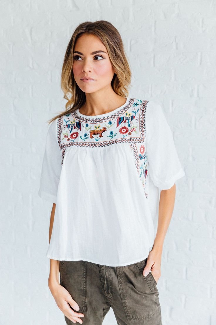 Magpie Embroidered Top | Clad & Cloth Apparel
