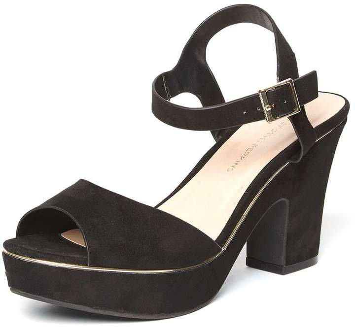 Black 'Romana' Platform Wedge Sandals