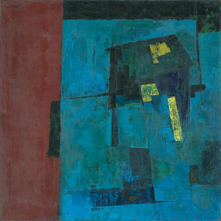 Lot No. 72, H. A. GADE, Blue Hut Blues Oil on canvas, 1972 40.0 x 40.0 in.