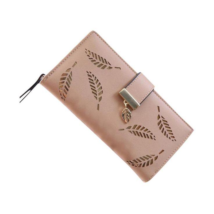 2017 Carpetas de Las Mujeres de la Hoja de Cuero Bifold Wallet Card Mujeres Del Monedero Del Embrague de Señora Long Bolso carteras mujer monedero femenino