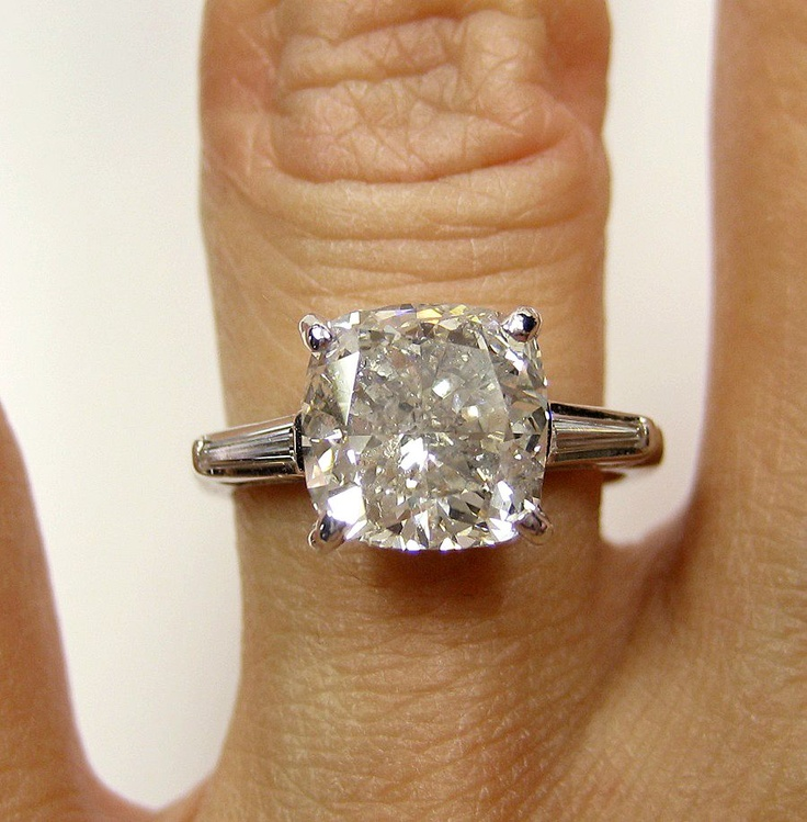 Large Cushion Cut Engagement Rings