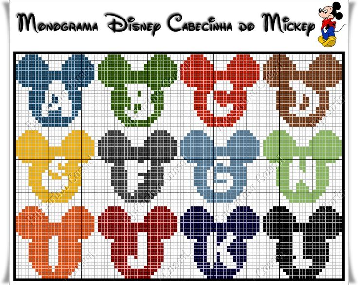 Mickey Mouse alphabet pattern by Carina Cassol (A-L)