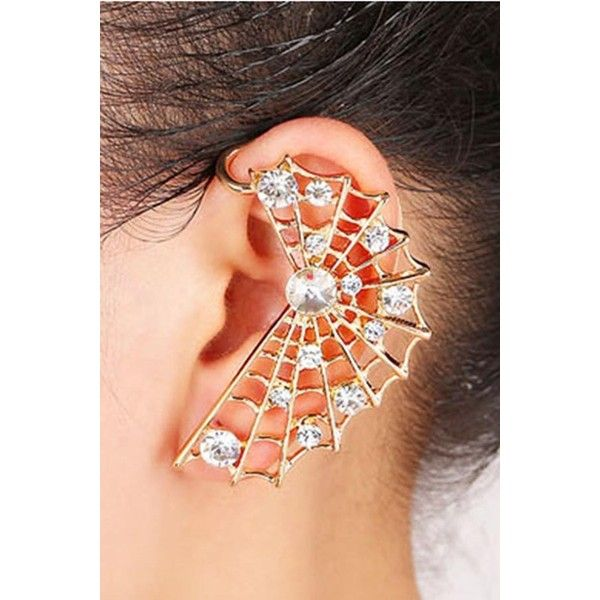 Gold Rhinestone Spider Web Decor Punk Ear Cuff ($5.99) ❤ liked on Polyvore featuring jewelry, gold, gold jewellery, gold jewelry, gold ear cuff, yellow gold jewelry and punk rock jewelry