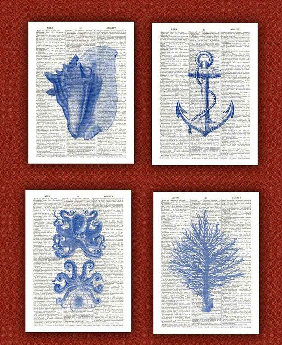 Octopus, seashells, coral, anchor  4 prints Set, Ocean Blue nautical Prints,  beach decor cottage wall hangings anchor Print  Dictionary