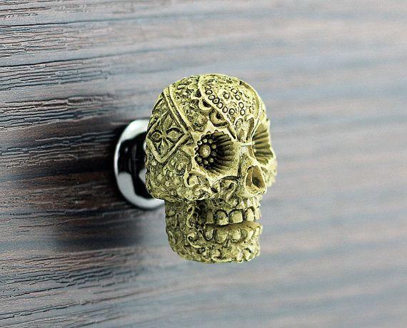 Handmade Skull Resin Knobs Dresser knobs cabinet Dresser Knobs pull  Diameter: 37x28mm Height: 30mm Weight: 20g Diameter of Basement: 18mm Material: