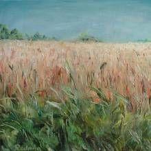 "Oil painting ""Rye field"" by Radmila Filimonova. Latvian artist from Riga.riga More paintings www.radmilaart.com"