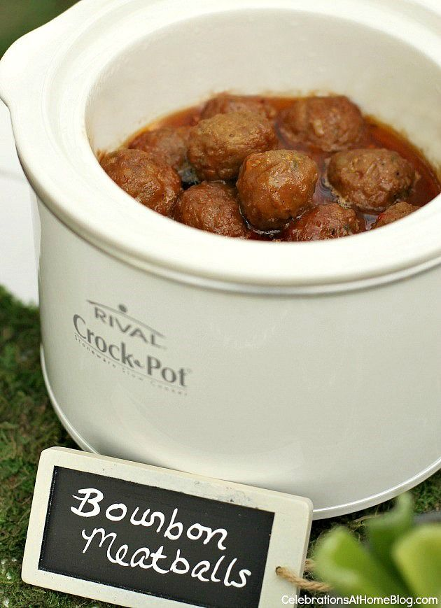 These bourbon meatballs are a staple item at cocktail parties. Serve them for a Kentucky derby party too.