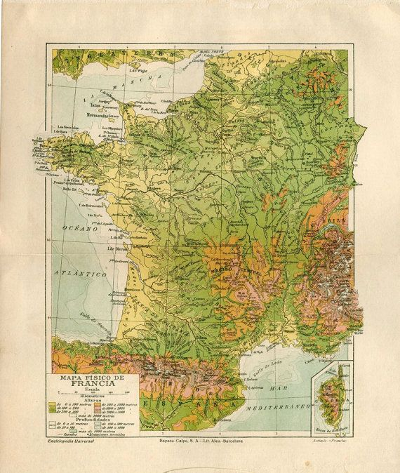 Vintage Map of France  Geologic Map Physical by CarambasVintage