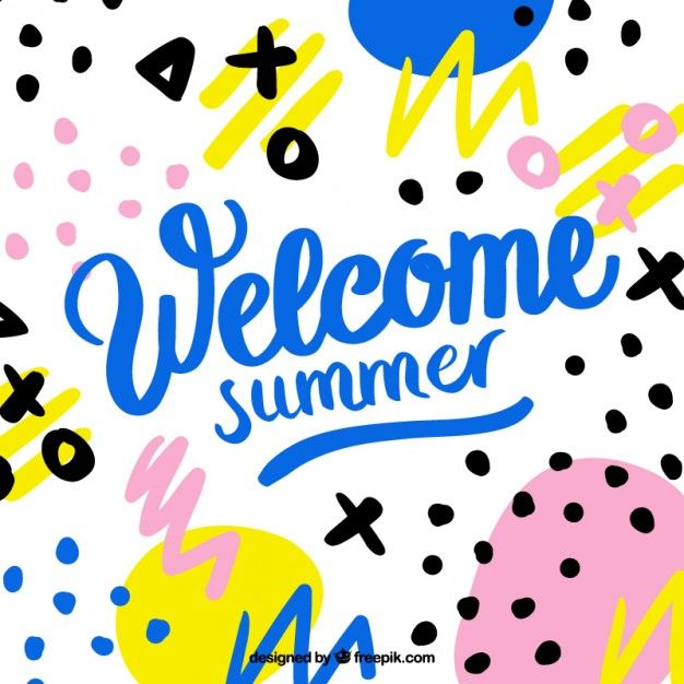 Welcome summer memphis background Premium Vector