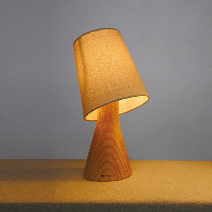 Original Beaker Design Wood Lamps, Handmade Bedside Table Lamps, Linen Lamp Shade