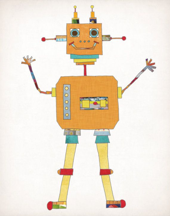 Robot, Nursery Decor, Children's Wall Art, Boy or Girl Room Decor, Orange Robot, Illustrations on Etsy, $13.00