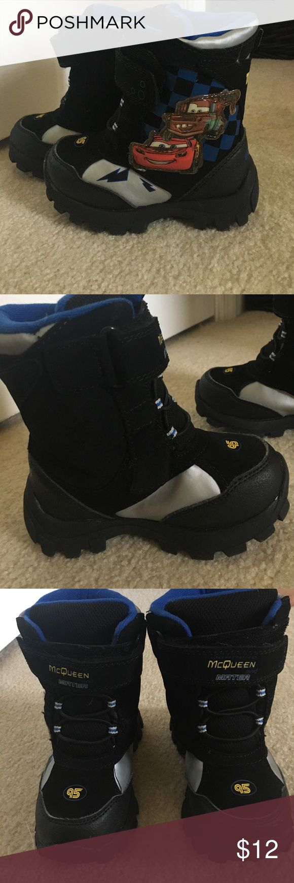 Toddler winter boots Lightening McQueen winter boots. Size M 7/8 worn once. Has great tread on bottom of boots and very warm Disney Shoes Rain & Snow Boots