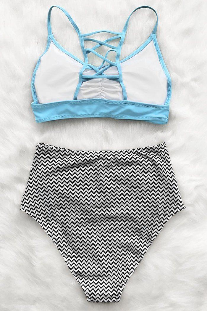Nuestro Bikini Cintura Alta Estampado Azul Cielo Cheuron Es El