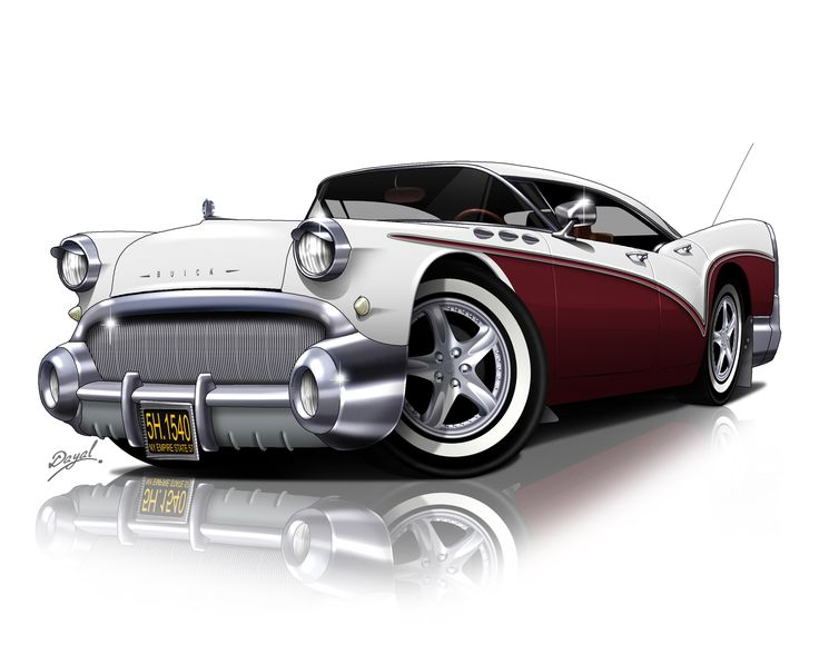 CARtoon of a classic 1957 Buick. You provide a photo of your car and our talented artists do the rest! Great gift idea by GiveAmasterpiece.com