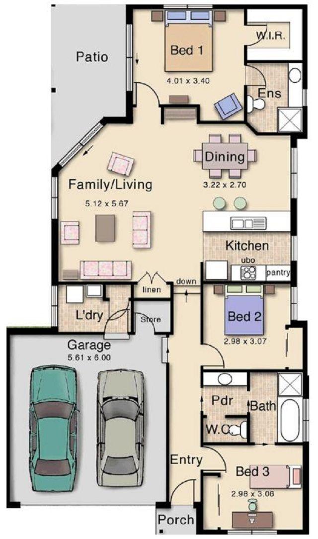 Pin de rosa campoverde en ing house design house plans for Casa moderna 60 m2