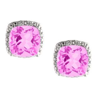 Cushion Cut Pink Sapphire June Gemstone White Gold Diamond Earrings Available Exclusively at Gemologica.com