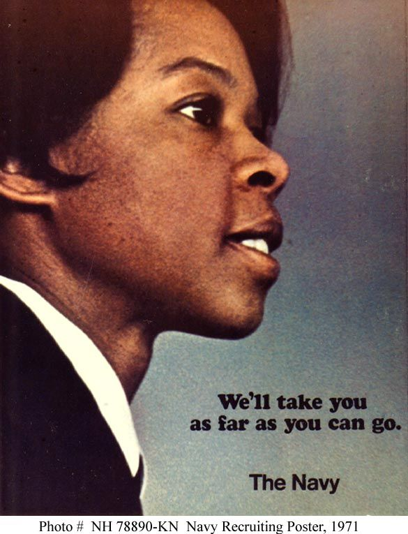 During the early 1970s, the Navy Recruiting Command issued several posters that featured African-American themes and individuals.