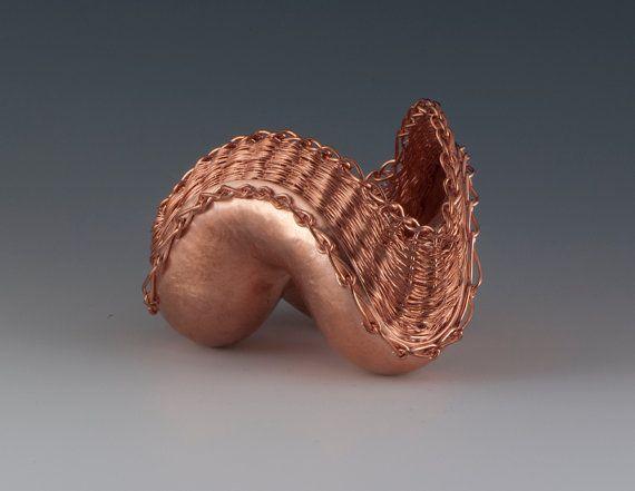 Sculptural Vessel Hammer then Weave raised by SharonStaffordMetals