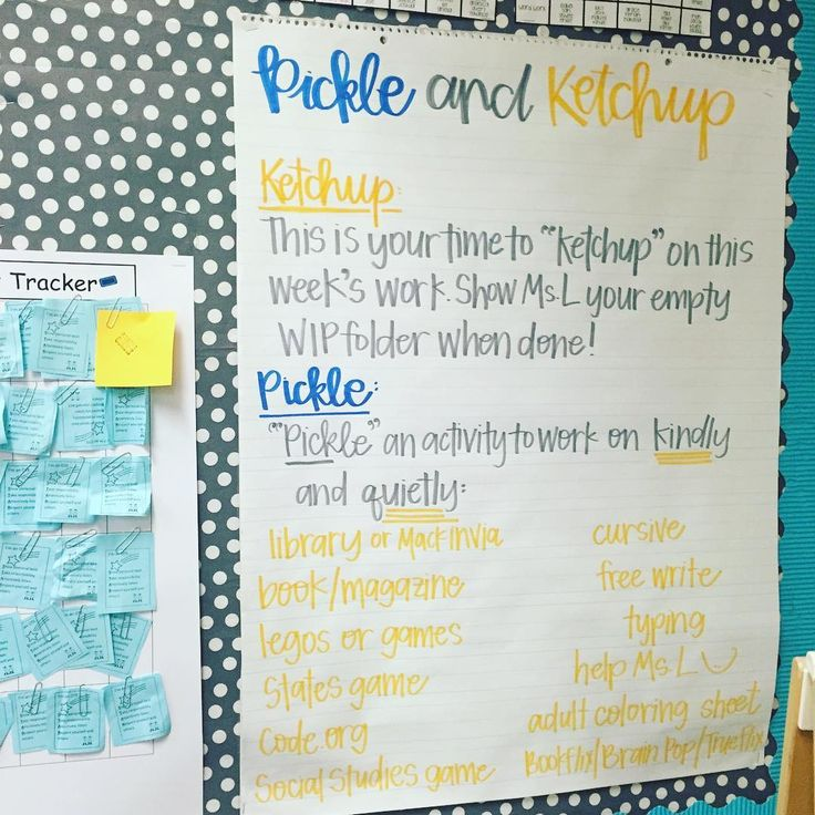 """How creative is this anchor chart for """"catch-up"""" work time! By Miss L's Busy Bees"""