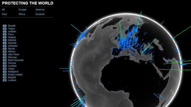 """Viren-Globus: Einen Überblick, wieviele und welche Bedrohung durch #Malware in diesem Moment um die Welt gehen, gibt der """"Viren-Globus"""" unseres Sicherheitspartners #FSecure. Er zeigt die weltweite Verteilung von Malware-Bedrohungen in Echtzeit. Um den Viren-Globus zu sehen, wird ein WebGL-fähiger Browser wie Mozilla Firefox oder Google Chrome benötigt: http://globe.f-secure.com/"""