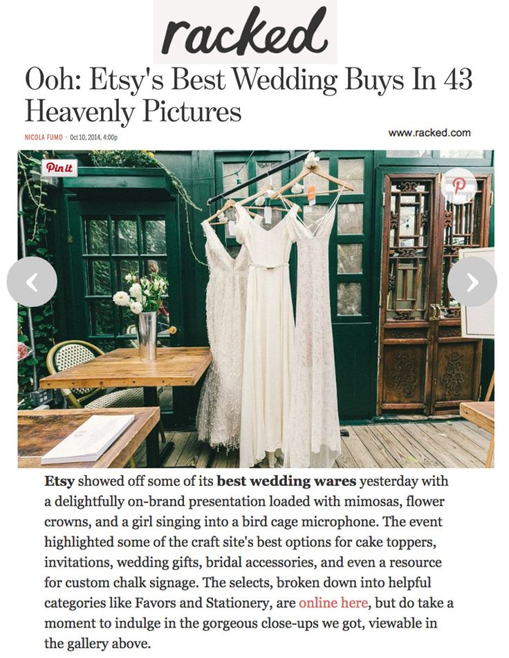 Racked - Our Crete dress featured in Racked.com coverage of Bridal Week in NYC Oct. 2015.  www.elikainlove.com
