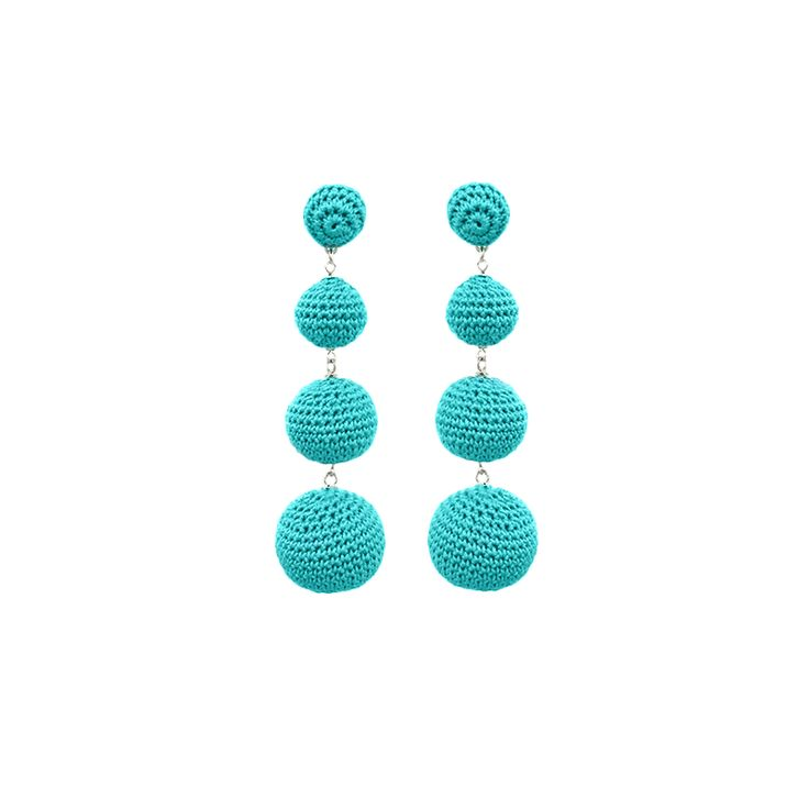 Crochet Bon Bon Drop Earrings // Turquoise