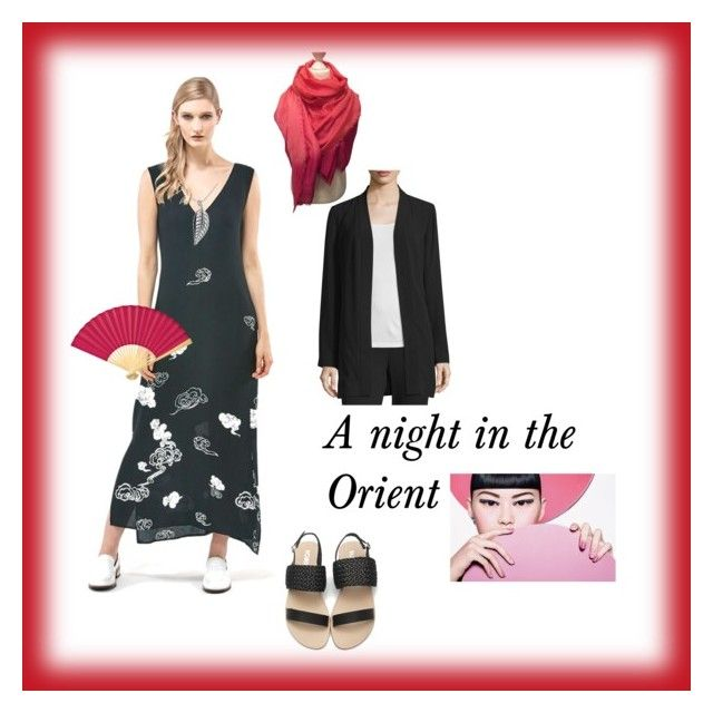 A night in the Orient by lyn-mowles on Polyvore featuring Eileen Fisher, Jennifer Meyer Jewelry, Cultural Intrigue and Maje