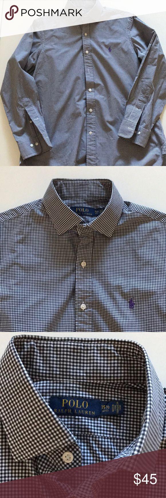 [Polo Ralph Lauren] Men's Black/White Check Shirt [Polo Ralph Lauren] black/white check shirt. 15 1/2 32/33. Purple Pony Polo by Ralph Lauren Shirts Dress Shirts