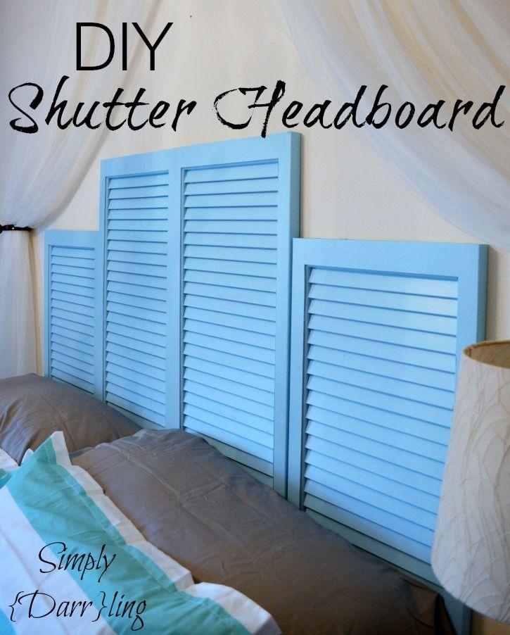 DIY Shutter Headboard - creating a Caribbean inspired guest bedroom.