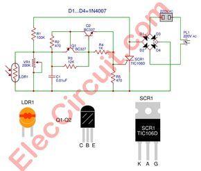 Automatic Night Light Circuit Using Scr Electronics Circuit