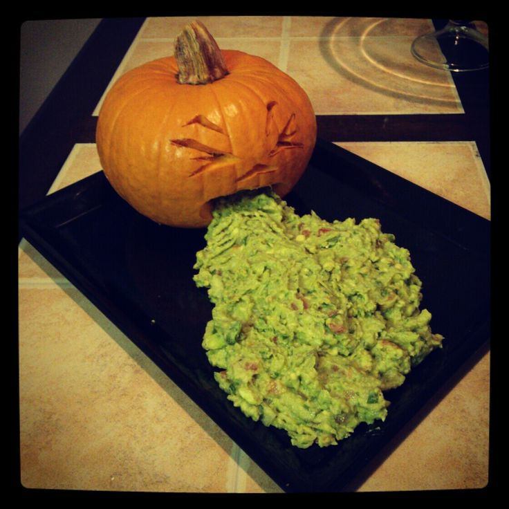 I get such a kick out of puking pumpkins, lol.....this is Halloween Guacamole, but I will be using spinich artichoke dip with some added food coloring for the don't eat appeal :)