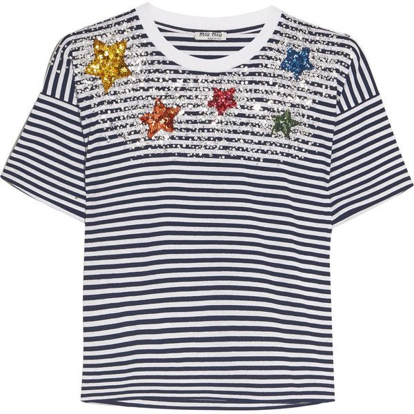 Miu Miu Embellished striped cotton-jersey T-shirt ($795) ❤ liked on Polyvore featuring tops, t-shirts, miu miu, striped t shirt, sequin t shirt, sequined tops, decorating t shirts and star tee