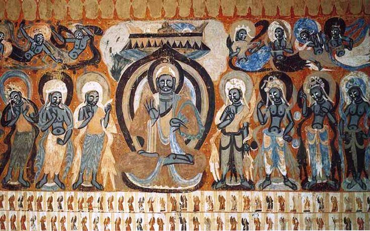 Fresco: Arte budista - Cuevas de Mogao (cerca de Dunhuang): Cueva aire libre…