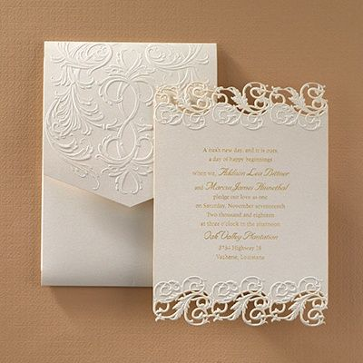 Shimmering Elegance - Wedding Invitations by The Office GaL  The beauty of laser cutting is exhibited on this fully assembled, shimmering invitation of elegance