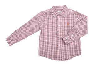 Camisa para niño en tela estampada de cuadritos azules, rojos y blancos. Con cuello y mangas largas.