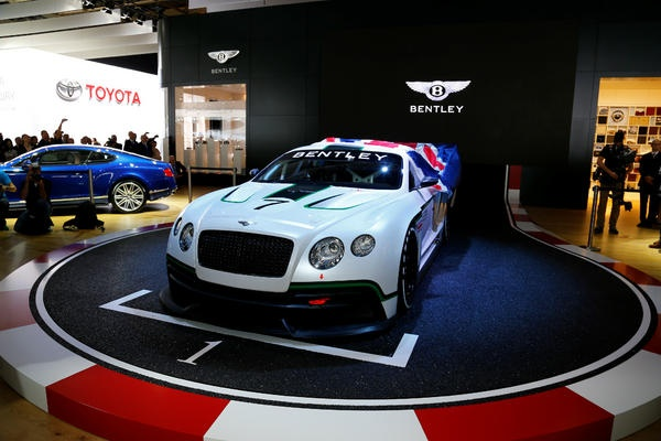 Bentley's beautiful new GT3 car, launched at the Paris Motor Show