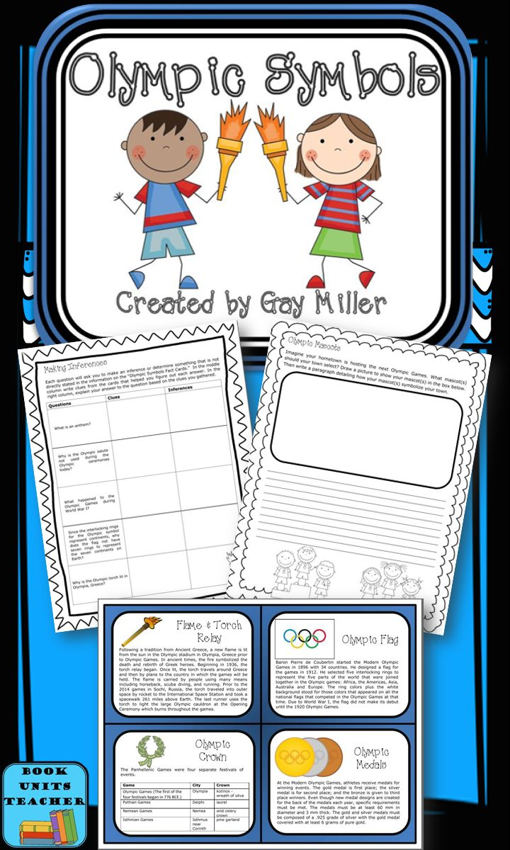Free olympic games activities including 12 trivia cards detailing facts about olympic symbols making