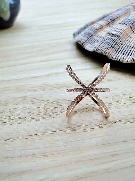 Criss Cross ring pave X ring Silver CrissCross by laplumeblanche