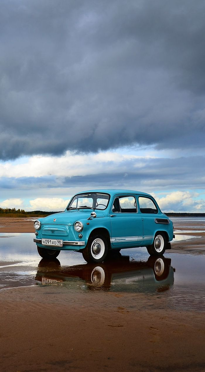1968 ZAZ-965A Zaporozhets - This Soviet car was based on the Fiat 600 with some design elements of the Volkswagen Beetle, like the torsion bar front suspension and the air-cooled engine.