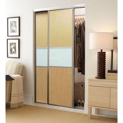 Contractors Wardrobe 60 in. x 96 in. Trinity Maple and White Painted Glass Aluminum Interior Sliding Door-TRI-CMS6096SC2R - The Home Depot