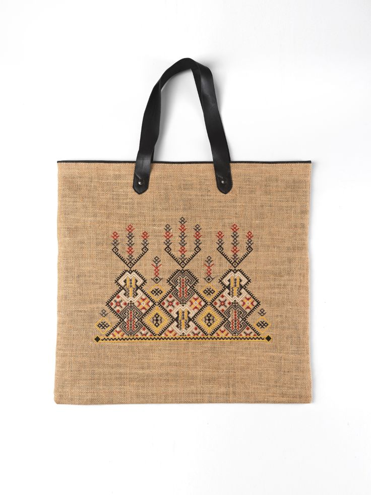 Burlap embroidered shopping bag from the @itsallgreekonme S/S2017 collection