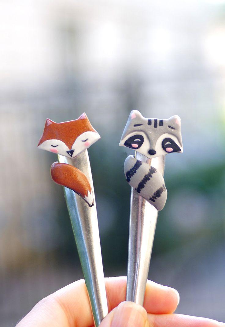 Fox and raccoon ice cream spoon kawaii fox cute raccoon spoon forest friends forest animals (17.00 USD) by CloverPower