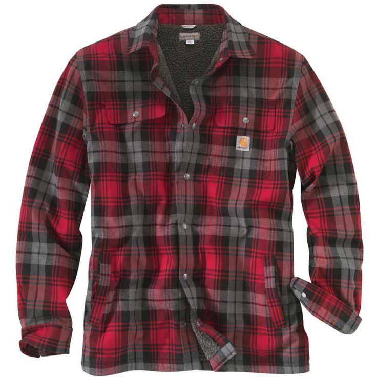 Carhartt Men's Hubbard Sherpa-Lined Shirt Jacket, Size: Large, Dark Crimson