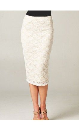 Lace overlay midi length pencil skirts! Apostolic Clothing #modest #overlay #skirts