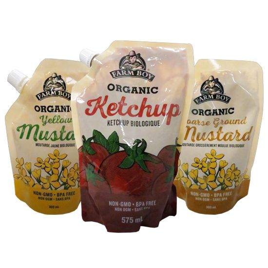 Great taste, no waste! Farm Boy™ Non-GMO Organic Mustard & Ketchup comes in a convenient BPA-free package. Mustard available in Coarse Ground and Yellow.