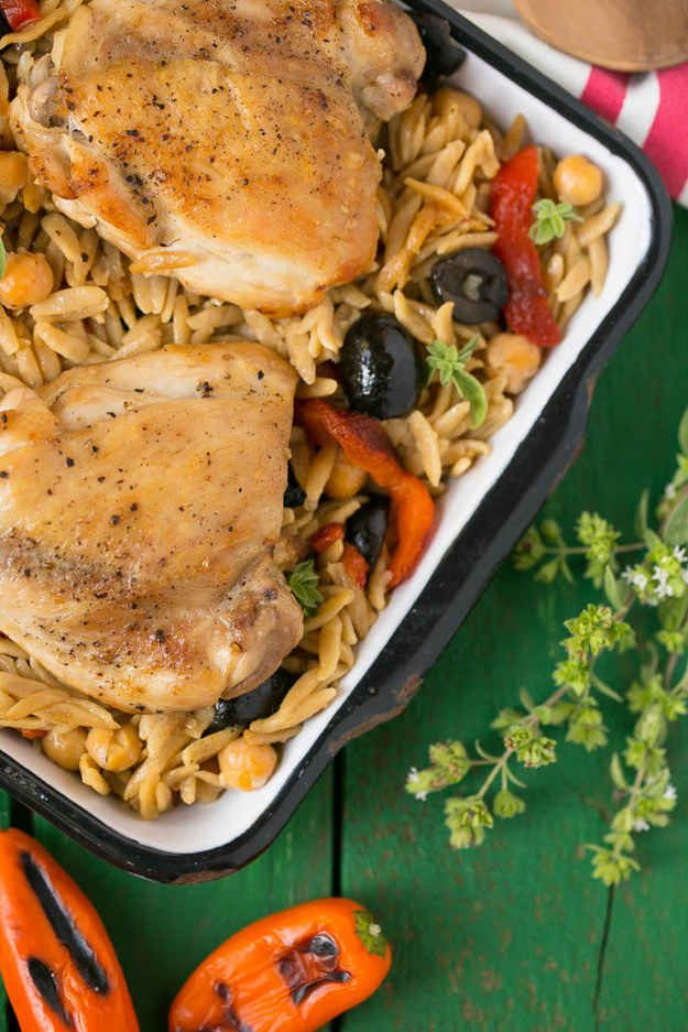 Mediterranean Chicken with Black Olives and Orzo