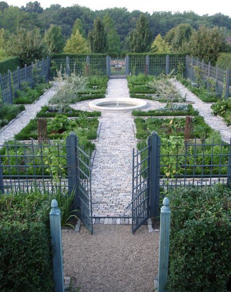 Grand Vegetable Garden with Fountain - AJF Design