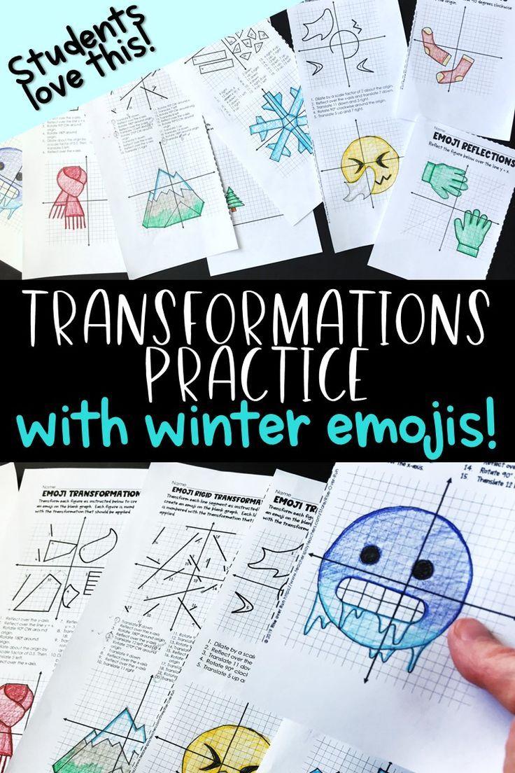 Winter Transformations Activity With Emojis Fun Math Activities Geometry Activities High School Activities [ 1104 x 736 Pixel ]