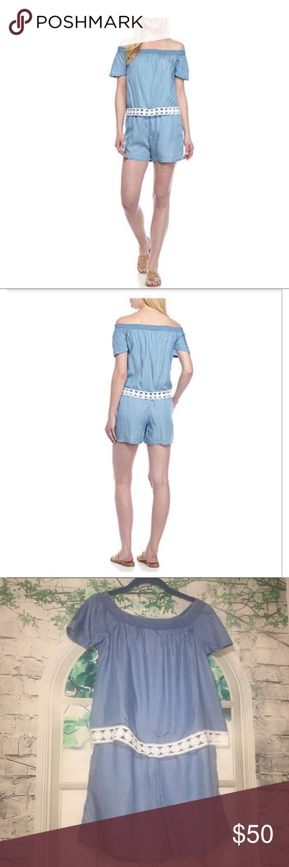"Crown & Ivy Chic Short Sleeve Chambray Romper Crown & Ivy Short Sleeve Chambray Romper Off Shoulder Crochet Trim Small NWT $89.50 This features ultra chic crochet trim around the waist, an off the shoulder neck design & pockets for stashing small esssentials. Pullover Off the shoulder neck Crochet trim design around the waist  Side pockets Fully lined 100% Tencel Lyocell Lining: 100% Cotton Machine washable Approximate flat lay measurements for size SMALL: Arm pit to arm pit: 16"" Waist: 14""…"